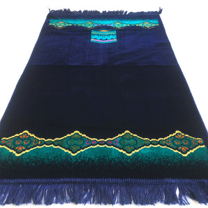 Turkish Islamic Prayer Rug Plush Velvet Janamaz Prayer Mat - Kaaba Design Turquoise Blue - MuslimPrayerRug