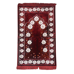 Ultra Lurex Turkish Islamic Prayer Rug Plush Velvet Prayer Mat Very Thick - Floral Red Design