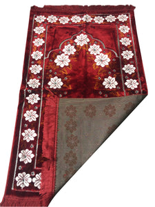 Ultra Lurex Turkish Islamic Prayer Rug Plush Velvet Prayer Mat Very Thick - Floral Red Design - MuslimPrayerRug