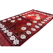 Load image into Gallery viewer, Ultra Lurex Turkish Islamic Prayer Rug Plush Velvet Prayer Mat Very Thick - Floral Red Design - MuslimPrayerRug