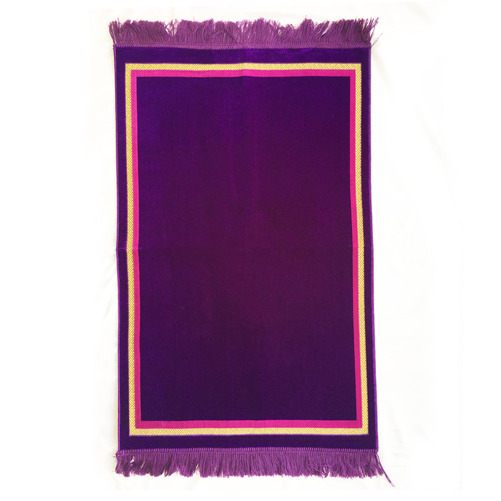 Plain Prayer Rug Turkish Islamic Plush Velvet Janamaz Prayer Mat - Plain Rectangle Design Purple - MuslimPrayerRug