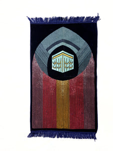 Al Arabia Muslim Prayer Rug - Made from Embossed Velvet - Features Kaaba Stripe Design Blue - MuslimPrayerRug