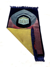Load image into Gallery viewer, Al Arabia Muslim Prayer Rug - Made from Embossed Velvet - Features Kaaba Stripe Design Blue - MuslimPrayerRug