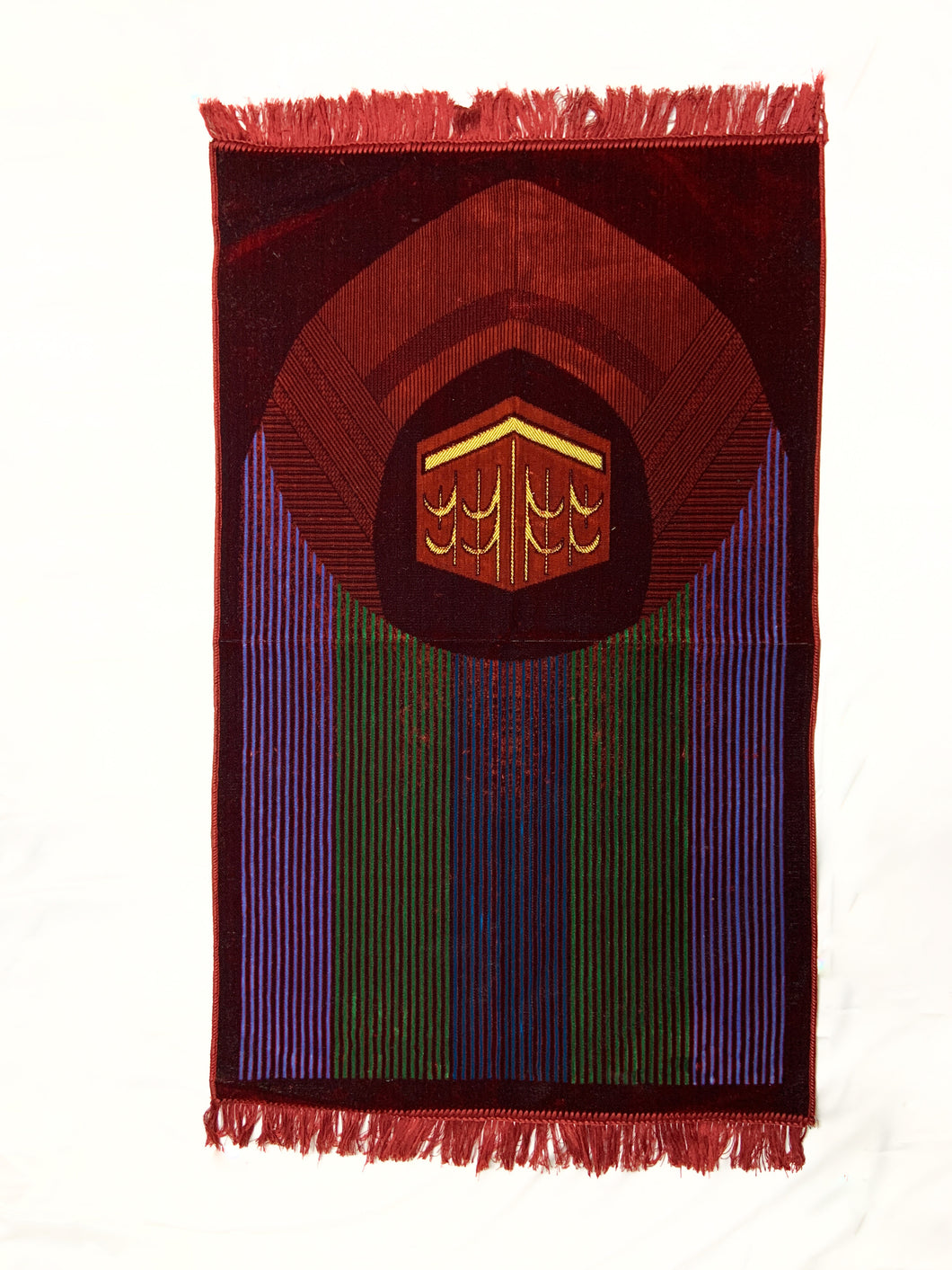 Al Arabia Muslim Prayer Rug - Made from Embossed Velvet - Features Kaaba Stripe Design Red - MuslimPrayerRug