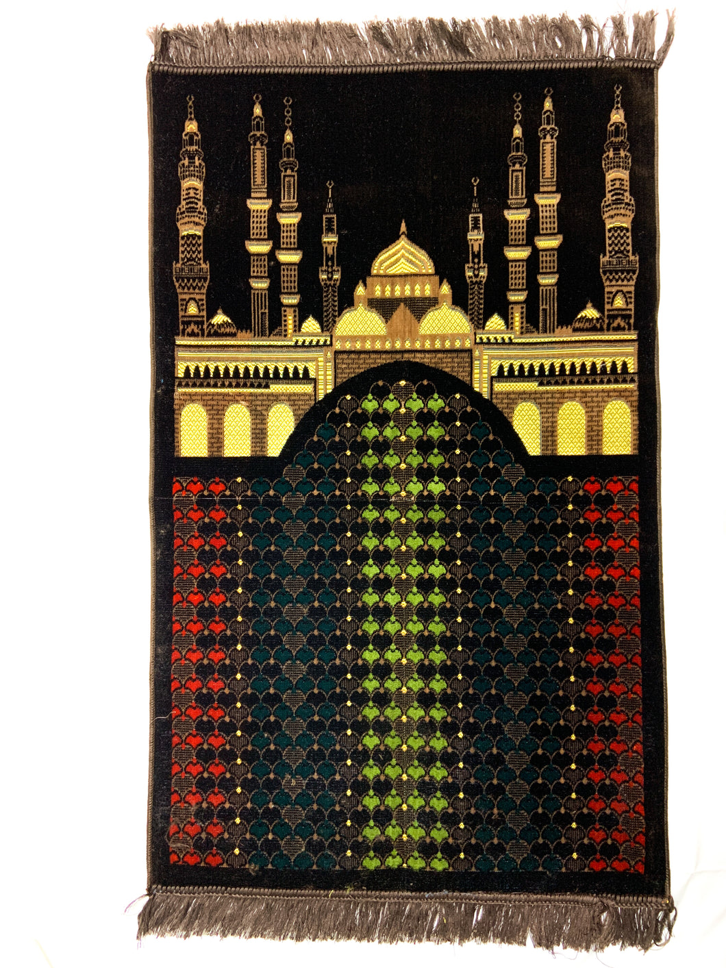 Al Arabia Muslim Prayer Rug - Made from Embossed Velvet - Features Medina Design Brown - MuslimPrayerRug