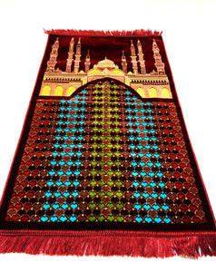 Al Arabia Muslim Prayer Rug - Made from Embossed Velvet - Features Medina Design Red - MuslimPrayerRug