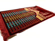 Load image into Gallery viewer, Al Arabia Muslim Prayer Rug - Made from Embossed Velvet - Features Medina Design Red - MuslimPrayerRug