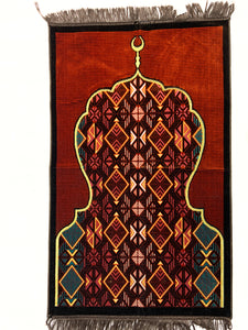 Al Arabia Muslim Prayer Rug - Made from Embossed Velvet - Features Minaret Design Brown - MuslimPrayerRug