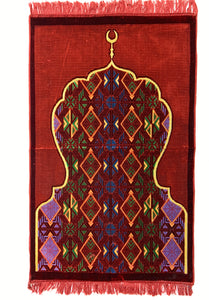 Al Arabia Muslim Prayer Rug - Made from Embossed Velvet - Features Minaret Design Red - MuslimPrayerRug