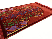 Load image into Gallery viewer, Al Arabia Muslim Prayer Rug - Made from Embossed Velvet - Features Minaret Design Red - MuslimPrayerRug