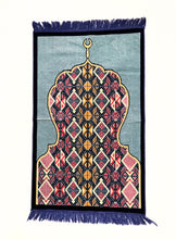 Load image into Gallery viewer, Al Arabia Muslim Prayer Rug - Made from Embossed Velvet - Features Minaret Design Black - MuslimPrayerRug