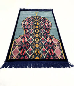 Al Arabia Muslim Prayer Rug - Made from Embossed Velvet - Features Minaret Design Black - MuslimPrayerRug