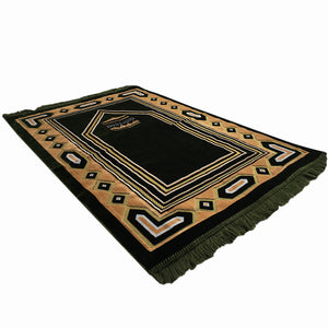 Al Arabia Muslim Prayer Rug - Double Soft Plush Velvet Fabric - Turkish Kaaba Design Green - MuslimPrayerRug