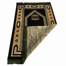 Load image into Gallery viewer, Al Arabia Muslim Prayer Rug - Double Soft Plush Velvet Fabric - Turkish Kaaba Design Green - MuslimPrayerRug
