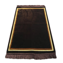 Load image into Gallery viewer, Al Arabia Plain Muslim Prayer Rug - Plush Velvet Fabric - Features Rectangle Design Brown