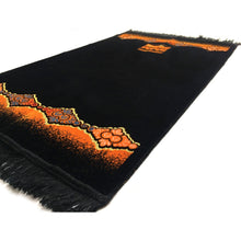 Load image into Gallery viewer, Turkish Islamic Plain Prayer Rug Plush Velvet Janamaz Prayer Mat - Orange Kaaba Design - MuslimPrayerRug