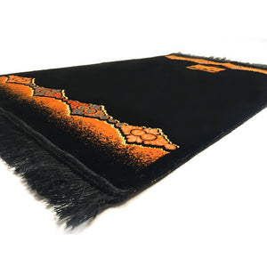 Turkish Islamic Plain Prayer Rug Plush Velvet Janamaz Prayer Mat - Orange Kaaba Design - MuslimPrayerRug