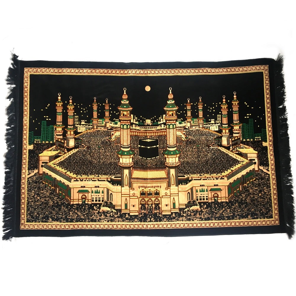 Turkish Islamic Tapestry Plush Velvet Wall Decor - Holy Kaaba Mecca Design - MuslimPrayerRug