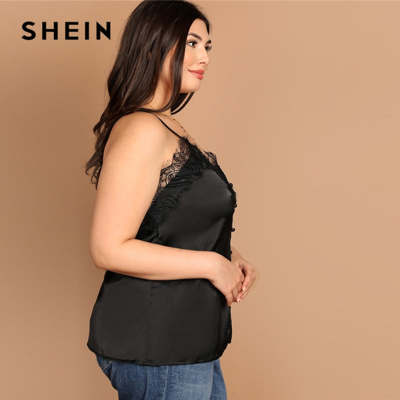 9bc0689bc9a ... Glamorous Summer High Street Black Plus Size Contrast Lace Trim Cami  Satin Top - Amy's Wisteria ...