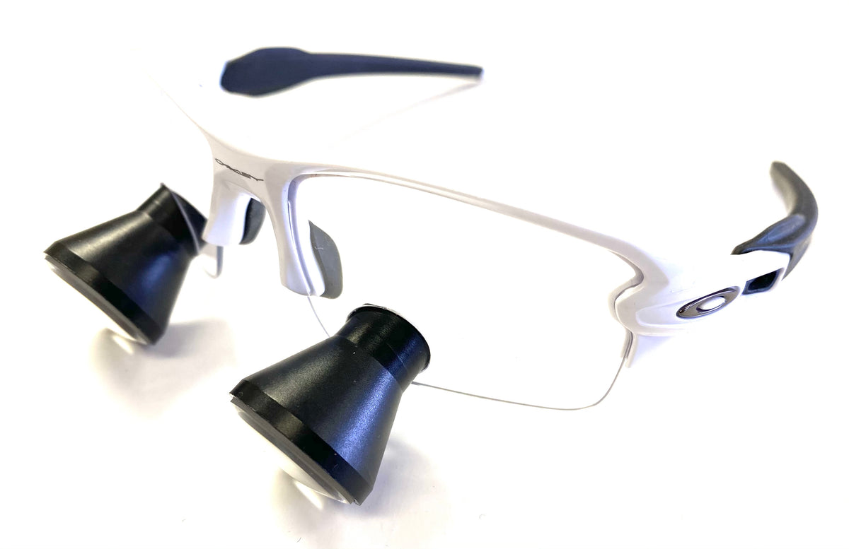 Cortel Designs TTL - Oakley Frames - White | Cortel Designs loupes dental glasses, designer eyeglasses with TTL loupes, custom loupe glasses