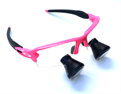 Cortel Designs TTL - Oakley Frames - Pink | Cortel Designs loupes dental glasses, designer eyeglasses with TTL loupes, custom loupe glasses