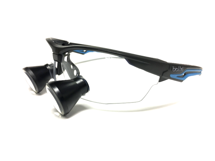 $329 Cortel Designs TTL Bolle Safety Fame Loupe - | Cortel Designs custom TTL loupe safety glasses, over the glasses loupes, designer medical safety glasses
