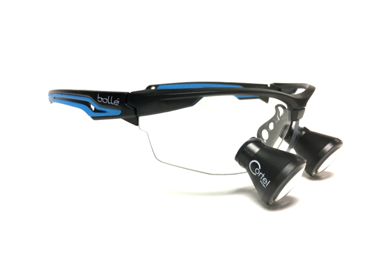 Cortel Designs $329 TTL Bolle Safety Fame Loupe - | Cortel Designs custom TTL loupe safety glasses, over the glasses loupes, designer medical safety glasses