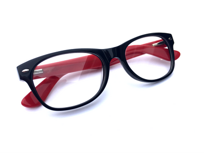 Cortel Designs Frame TTL Loupes - Black Red | Cortel Designs custom TTL loupe for designer glasses, dental magnifying eyeglasses