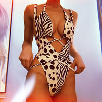 Red leopard swimsuit one piece Bandage sexy bikini - KB ALL ABOUT SERVICEZ