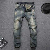 Vintage Men Jeans Slim Fit Cotton Denim Long Pants Classical Jeans Homme Brand Jeans - KB ALL ABOUT SERVICEZ