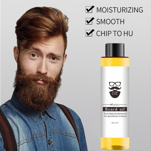 1 pc 30ml Mokeru 100% Organic Beard Oil Hair loss Products Spray Beard Growth Oil For Growth Men Beard Grow Pro - KB ALL ABOUT SERVICEZ