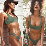 Two Piece Bikini Sport Women Swimwear Sexy Solid Surf Zipper Short Sleeve Swim Bathing Suit Tankini Set - KB ALL ABOUT SERVICEZ