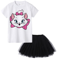 Aristocats Cat Marie Kids Girl Dress Cartoon Cute Cat Baby Girl Tutu Dress T Shirt + Dress 2pcs Princess Birthday Party Costumes - KB ALL ABOUT SERVICEZ