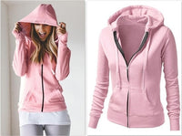 Women's Classic Hoodies Jackets Spring Autumn Zipper Hoody Sweatshirts Jacket Solid Slim Fit Hoodie - KB ALL ABOUT SERVICEZ