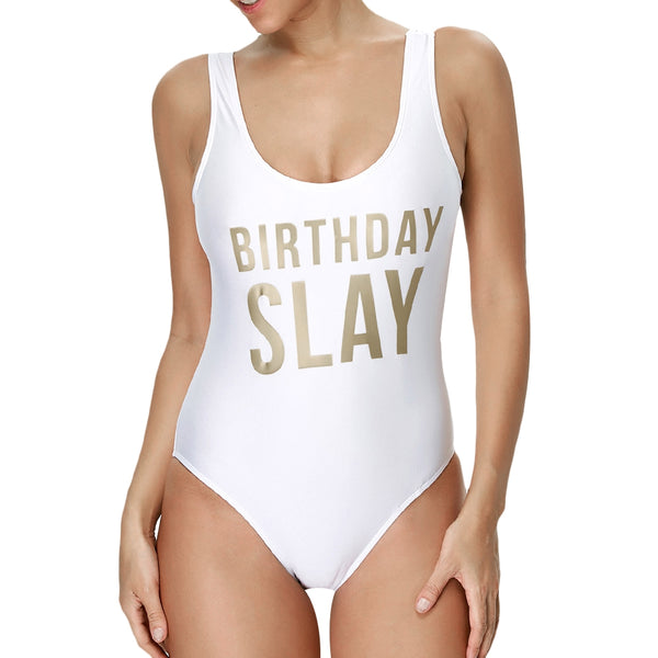 Letter Unlined One Piece Swimsuit - KB ALL ABOUT SERVICEZ