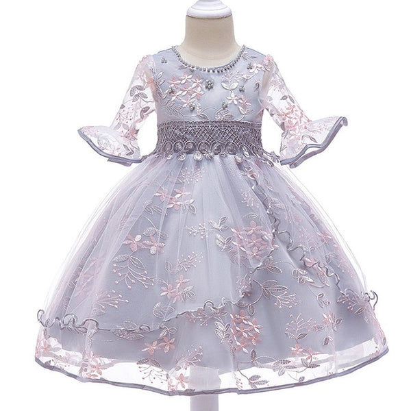 Children clothing Baby Girls Flower Tutu Dress Party Formal Princess Dress Children's kids clothes - KB ALL ABOUT SERVICEZ