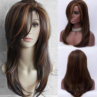 Long Side Bang Layered Natural Straight Colormix Synthetic Wig - KB ALL ABOUT SERVICEZ