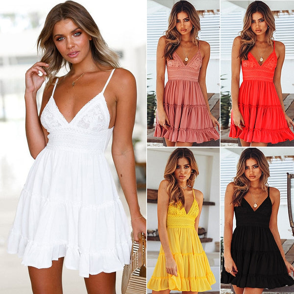 Sexy Strappy Lace White Mini Dresses Female Ladies Beach V Neck Party Sundress Black Yellow Pink - KB ALL ABOUT SERVICEZ