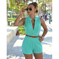 European Womens Jumpsuits Office Ladies Sexy Buttons V Neck Plus Size Playsuits Rompers Single Breasted Shorts with Belt - KB ALL ABOUT SERVICEZ