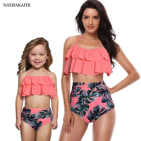 Leaf Print Ruffled Mother Daughter matching swimwear Summer Bikini - KB ALL ABOUT SERVICEZ