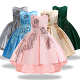 Pattern Girls Birthday Wedding Party Pageant Long Princess Dress Kid Christmas Costume Clothes Prom Dresses 4-14 years old - KB ALL ABOUT SERVICEZ