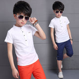 Cotton Short Sleeve T Shirt +pant Boys and Girls Two Sets of Large Children's Sport Suit - KB ALL ABOUT SERVICEZ