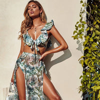 Leaves Print Bikinis  Ruffle Shoulder Swimwear Women - KB ALL ABOUT SERVICEZ
