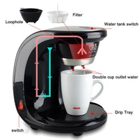 Adoolla 450W 2 Cups Drip Coffee Maker Electric Automatic Espresso Coffee Machine - KB ALL ABOUT SERVICEZ