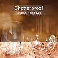 4pcs/set Shatterproof Stemless Plastic Wine Glasses Unbreakable PCTG Red Wine Glasses - KB ALL ABOUT SERVICEZ