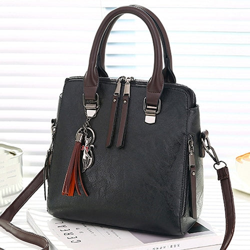 Vintage Leather Ladies HandBags Women Messenger Bags TotesTassel Designer Crossbody Shoulder Bag Boston Hand Bags - KB ALL ABOUT SERVICEZ