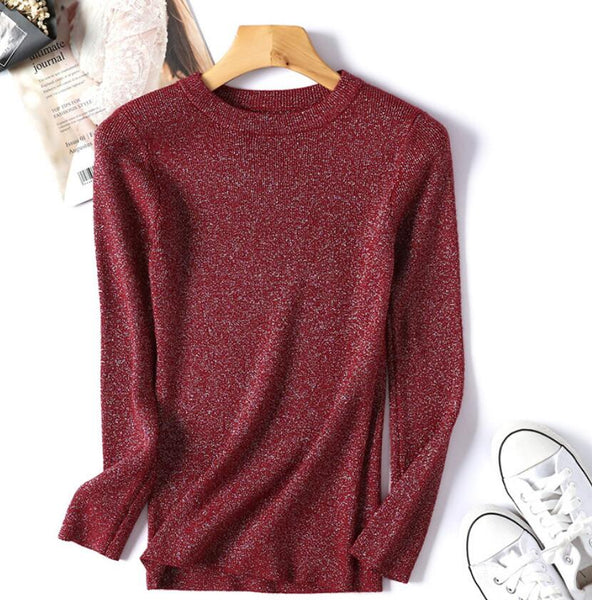 Shiny Lurex Autumn Winter Sweater Women Long Sleeve Pullover  Knit Tops - KB ALL ABOUT SERVICEZ