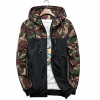 Men's Bomber Jacket Slim Camouflage Military Hooded Coat Windbreaker Zipper Outwear - KB ALL ABOUT SERVICEZ