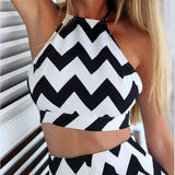 Fashion Women Two Pieces Striped Culotte Sexy Backless Dress Halter Suspenders Sleeveless Back Cross Crop Top & Mini Skirt sale - KB ALL ABOUT SERVICEZ