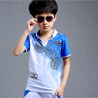 Boys Sport Suit Clothing Set Motorcycle Print Short Sleeve Knitted Children's Set Boys Clothes - KB ALL ABOUT SERVICEZ